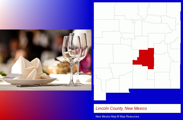 a restaurant table place setting; Lincoln County, New Mexico highlighted in red on a map