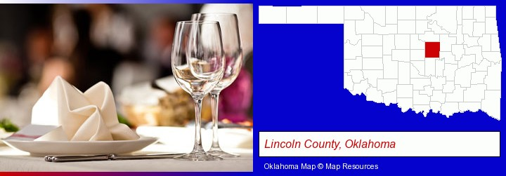a restaurant table place setting; Lincoln County, Oklahoma highlighted in red on a map