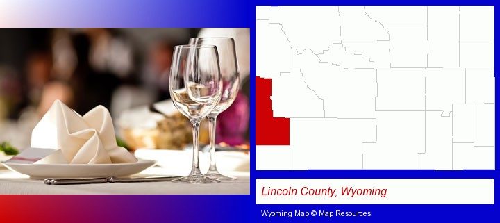 a restaurant table place setting; Lincoln County, Wyoming highlighted in red on a map