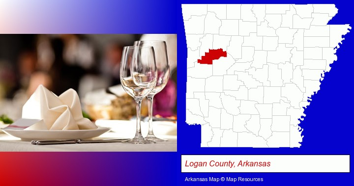 a restaurant table place setting; Logan County, Arkansas highlighted in red on a map