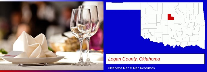 a restaurant table place setting; Logan County, Oklahoma highlighted in red on a map