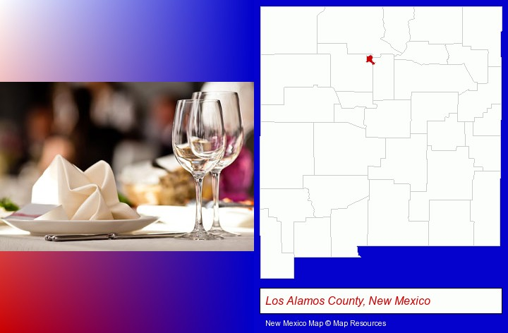 a restaurant table place setting; Los Alamos County, New Mexico highlighted in red on a map