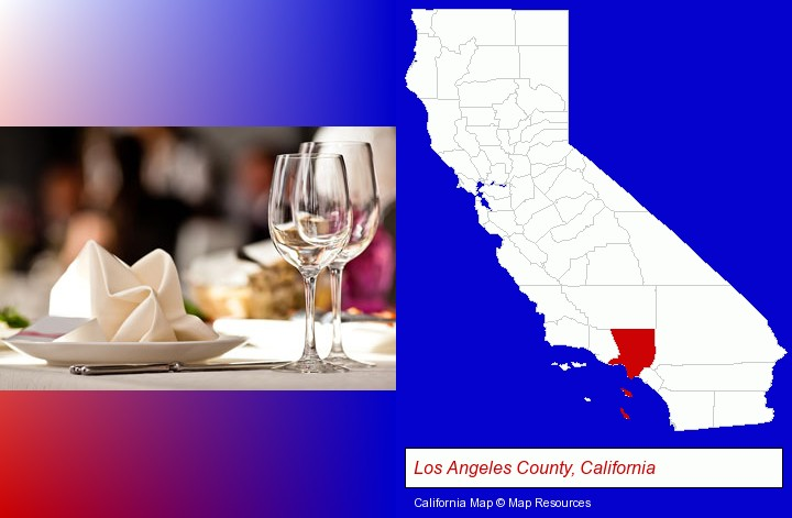 a restaurant table place setting; Los Angeles County, California highlighted in red on a map