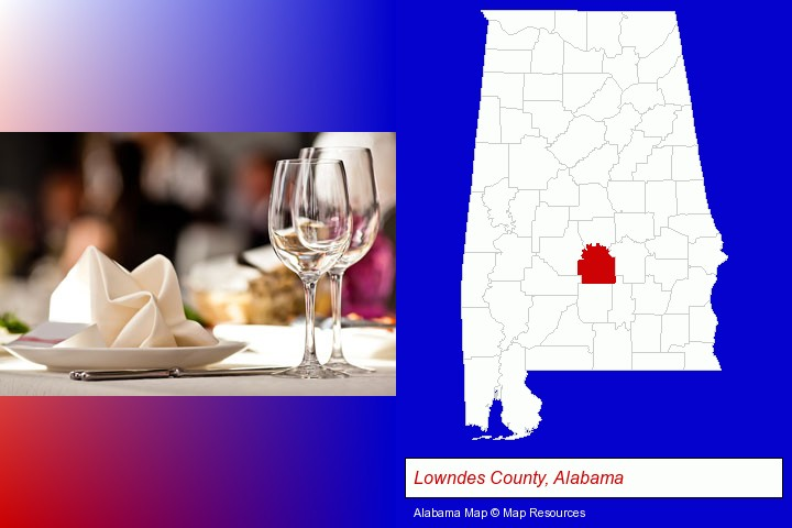 a restaurant table place setting; Lowndes County, Alabama highlighted in red on a map