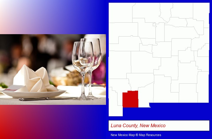 a restaurant table place setting; Luna County, New Mexico highlighted in red on a map