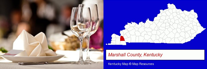 a restaurant table place setting; Marshall County, Kentucky highlighted in red on a map