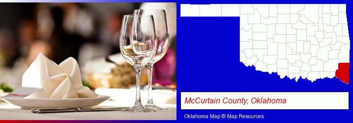 a restaurant table place setting; McCurtain County, Oklahoma highlighted in red on a map