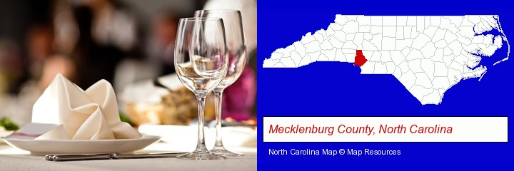 a restaurant table place setting; Mecklenburg County, North Carolina highlighted in red on a map