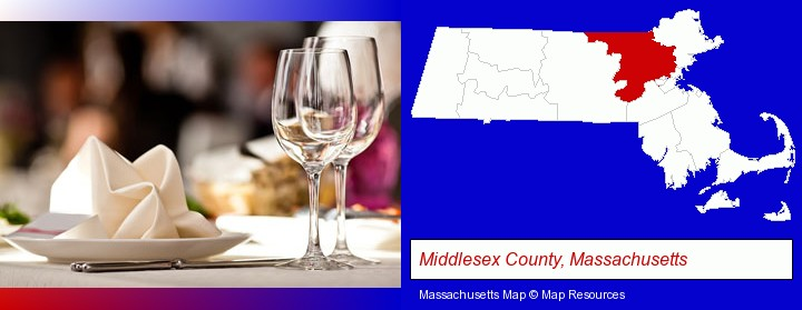 a restaurant table place setting; Middlesex County, Massachusetts highlighted in red on a map