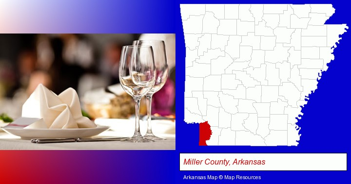 a restaurant table place setting; Miller County, Arkansas highlighted in red on a map