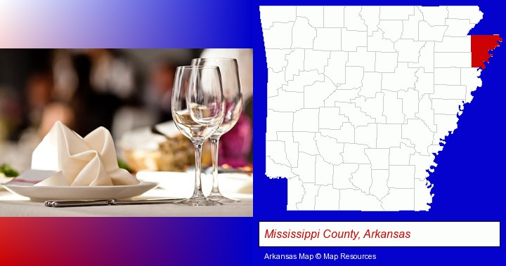 a restaurant table place setting; Mississippi County, Arkansas highlighted in red on a map