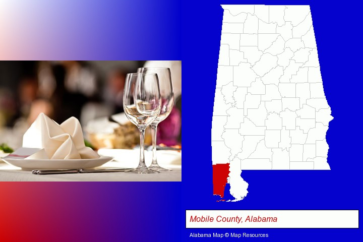 a restaurant table place setting; Mobile County, Alabama highlighted in red on a map