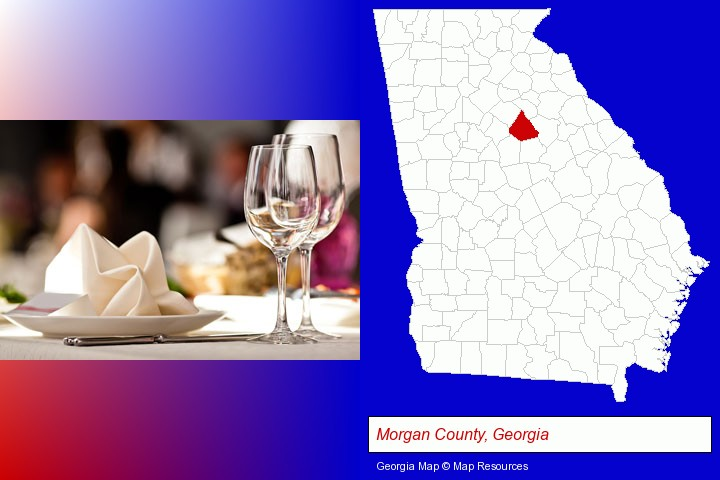 a restaurant table place setting; Morgan County, Georgia highlighted in red on a map