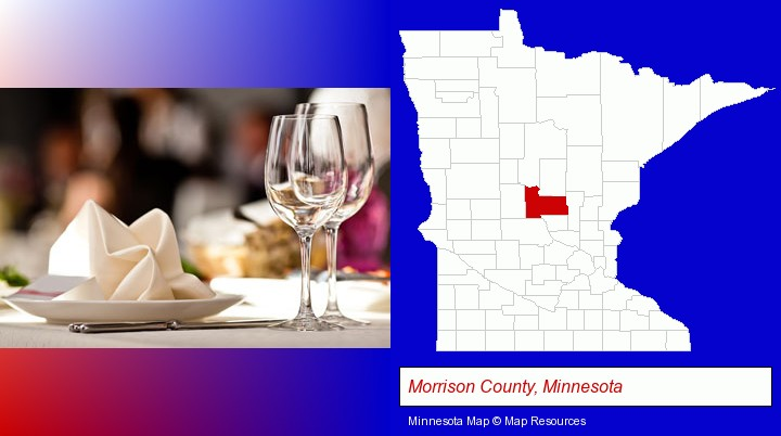 a restaurant table place setting; Morrison County, Minnesota highlighted in red on a map