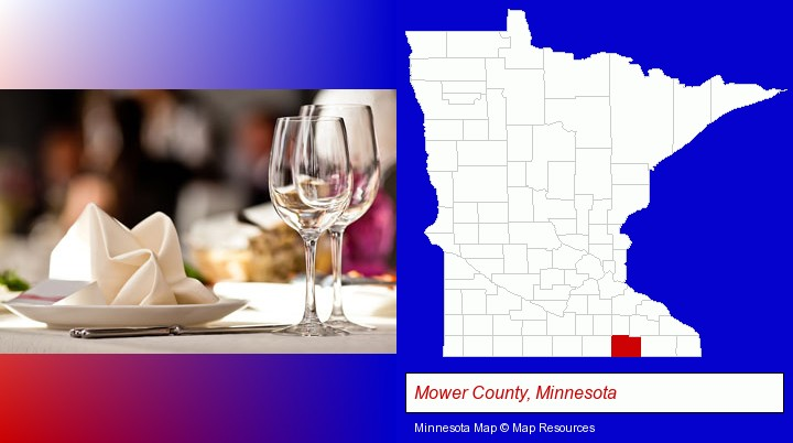 a restaurant table place setting; Mower County, Minnesota highlighted in red on a map