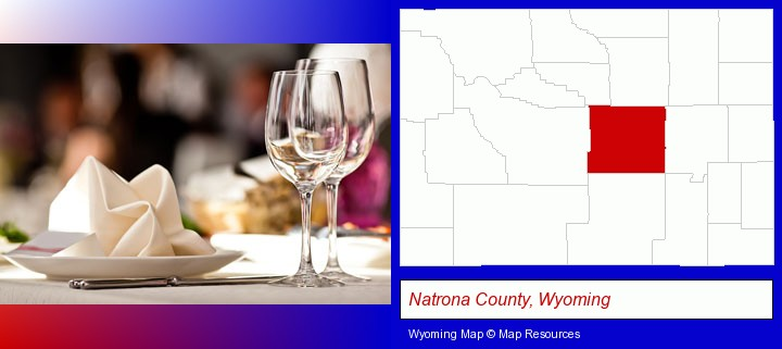 a restaurant table place setting; Natrona County, Wyoming highlighted in red on a map