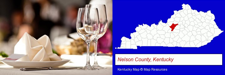 a restaurant table place setting; Nelson County, Kentucky highlighted in red on a map