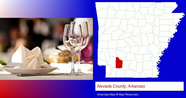 a restaurant table place setting; Nevada County, Arkansas highlighted in red on a map