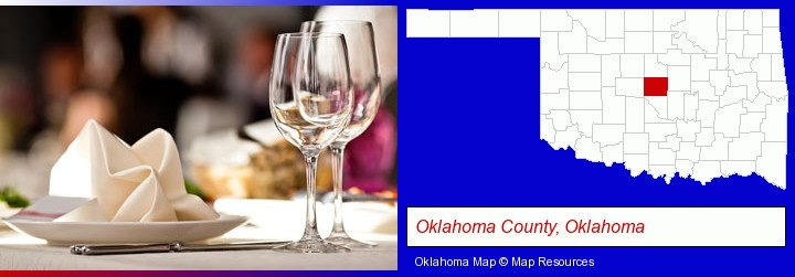 a restaurant table place setting; Oklahoma County, Oklahoma highlighted in red on a map
