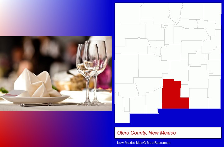 a restaurant table place setting; Otero County, New Mexico highlighted in red on a map