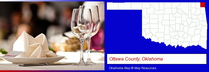 a restaurant table place setting; Ottawa County, Oklahoma highlighted in red on a map