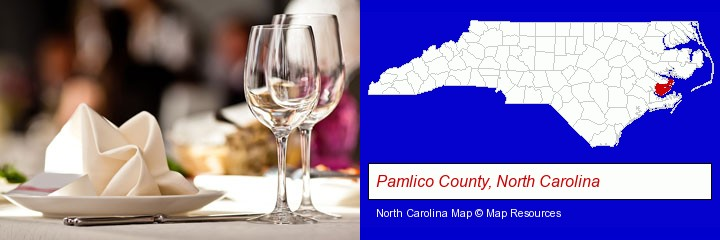 a restaurant table place setting; Pamlico County, North Carolina highlighted in red on a map