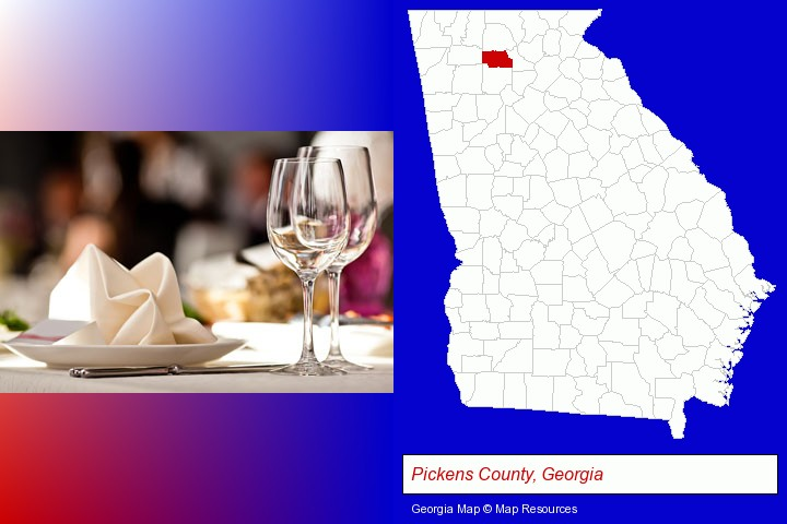 a restaurant table place setting; Pickens County, Georgia highlighted in red on a map
