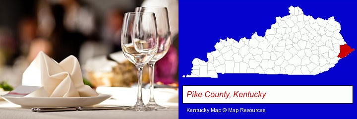 a restaurant table place setting; Pike County, Kentucky highlighted in red on a map