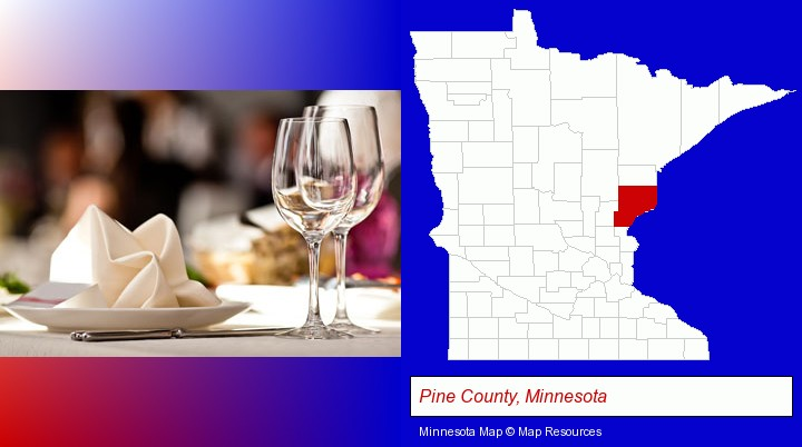 a restaurant table place setting; Pine County, Minnesota highlighted in red on a map