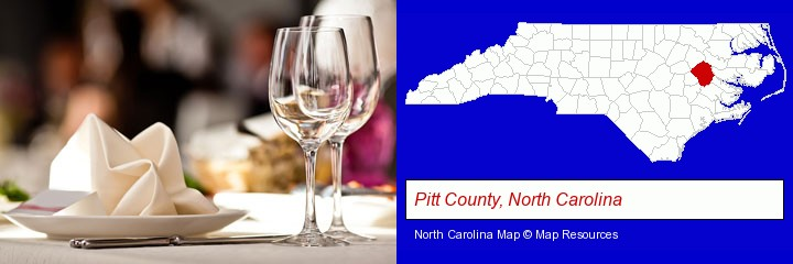 a restaurant table place setting; Pitt County, North Carolina highlighted in red on a map