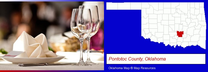 a restaurant table place setting; Pontotoc County, Oklahoma highlighted in red on a map