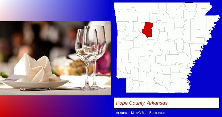 a restaurant table place setting; Pope County, Arkansas highlighted in red on a map