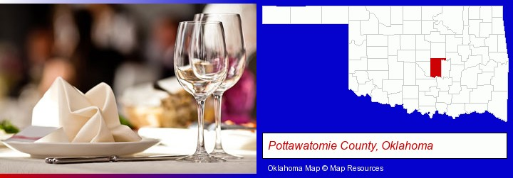 a restaurant table place setting; Pottawatomie County, Oklahoma highlighted in red on a map