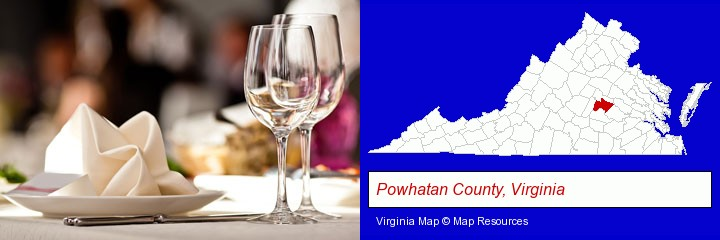 a restaurant table place setting; Powhatan County, Virginia highlighted in red on a map