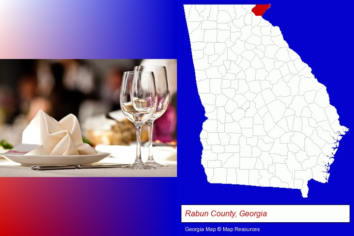 a restaurant table place setting; Rabun County, Georgia highlighted in red on a map