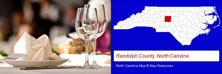 a restaurant table place setting; Randolph County, North Carolina highlighted in red on a map