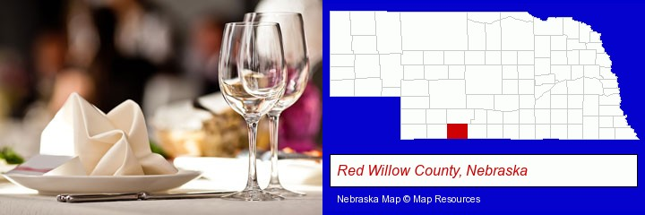 a restaurant table place setting; Red Willow County, Nebraska highlighted in red on a map