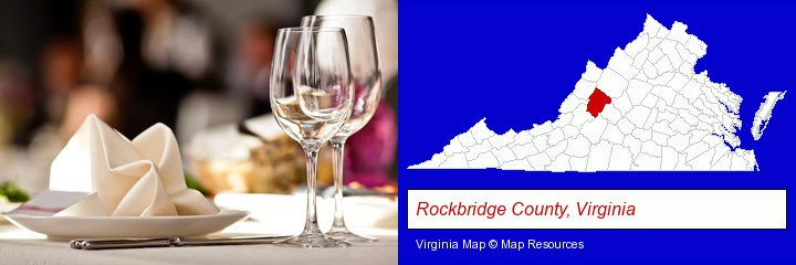 a restaurant table place setting; Rockbridge County, Virginia highlighted in red on a map