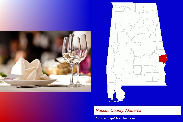 a restaurant table place setting; Russell County, Alabama highlighted in red on a map