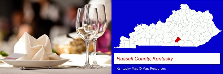 a restaurant table place setting; Russell County, Kentucky highlighted in red on a map