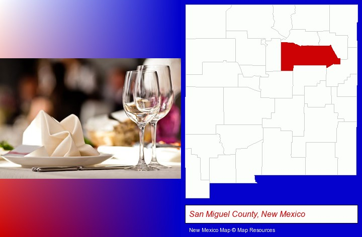 a restaurant table place setting; San Miguel County, New Mexico highlighted in red on a map