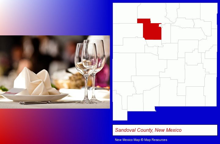 a restaurant table place setting; Sandoval County, New Mexico highlighted in red on a map