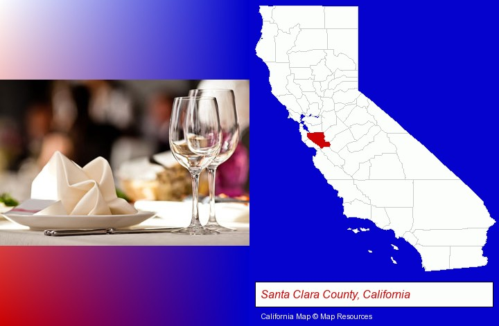 a restaurant table place setting; Santa Clara County, California highlighted in red on a map