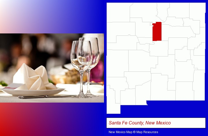 a restaurant table place setting; Santa Fe County, New Mexico highlighted in red on a map
