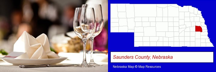 a restaurant table place setting; Saunders County, Nebraska highlighted in red on a map