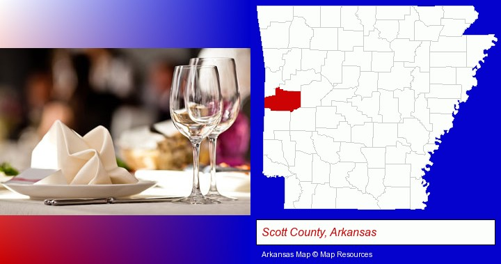 a restaurant table place setting; Scott County, Arkansas highlighted in red on a map