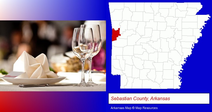 a restaurant table place setting; Sebastian County, Arkansas highlighted in red on a map