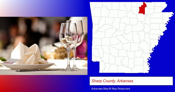 a restaurant table place setting; Sharp County, Arkansas highlighted in red on a map