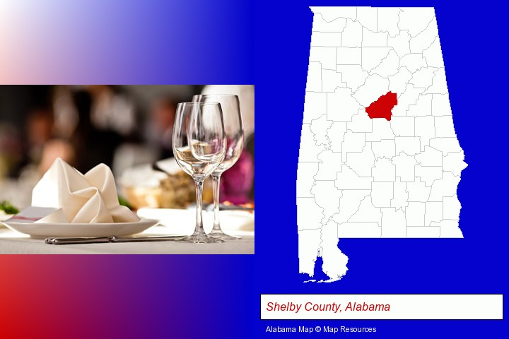 a restaurant table place setting; Shelby County, Alabama highlighted in red on a map