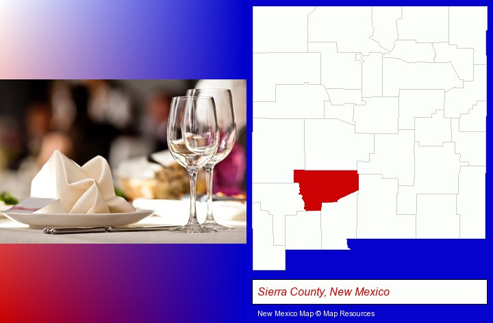 a restaurant table place setting; Sierra County, New Mexico highlighted in red on a map